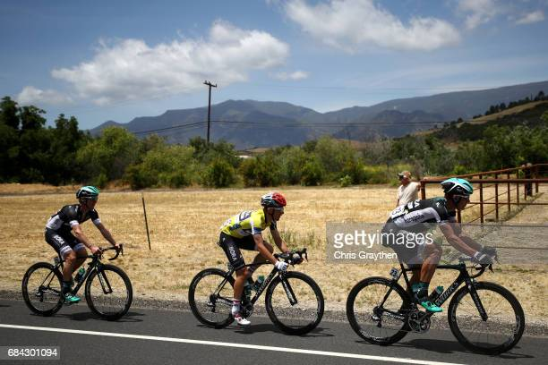 Rafal Majka of Poland riding for Bora-Hansgrohe in the AMGEN Race Leader jersey rides in the peloton during stage four of the AMGEN Tour of...