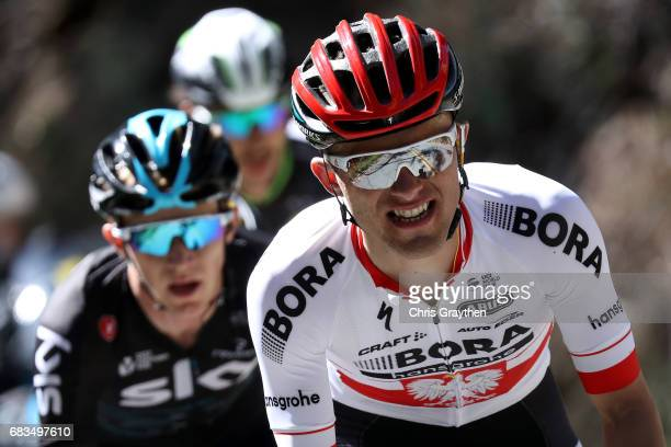 Rafal Majka of Poland, riding for Bora-hansgrohe rides in the breakaway during stage two of the AMGEN Tour of California from Modesto to San Jose on...
