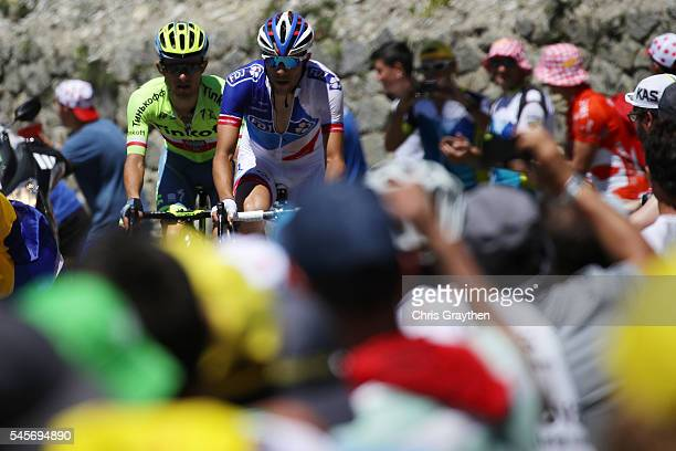 Rafal Majka of Poland riding for Tinkoff and Thibaut Pinot of France riding for FDJ ride in the breakaway up the Col du Tourmalet during stage eight...