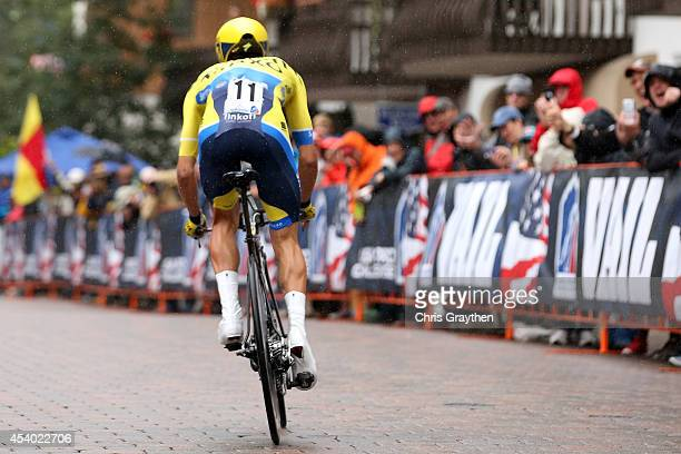 Rafal Majka of Poland riding for TinkoffSaxo competes in the individual time trial during Stage 6 of the 2014 USA Pro Challenge on August 23 2014 in...