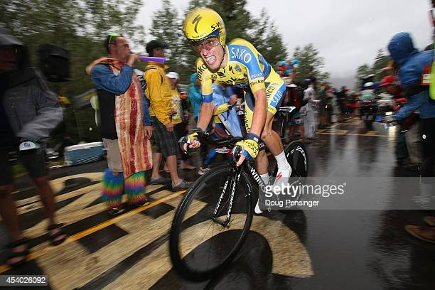 Rafal Majka of Poland riding for Tinkoff-Saxo races to fourth place in the individual time trial during stage six of the 2014 USA Pro Challenge on...