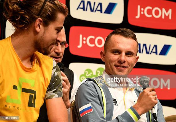 Rafal Majka of Tinkoff team from Poland speaks beside his teammate Peter Sagan from Slovakia during a press conference of the 2016 Tour de France...