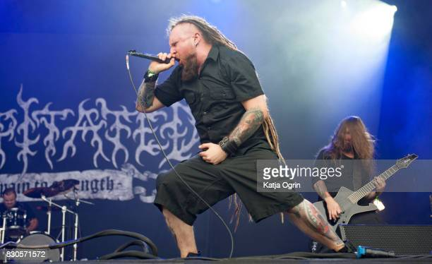 Rafal Piotrowski of Decapitated performing live on stage on day 1 at Bloodstock Festival at Catton Hall on August 11 2017 in Burton Upon Trent England