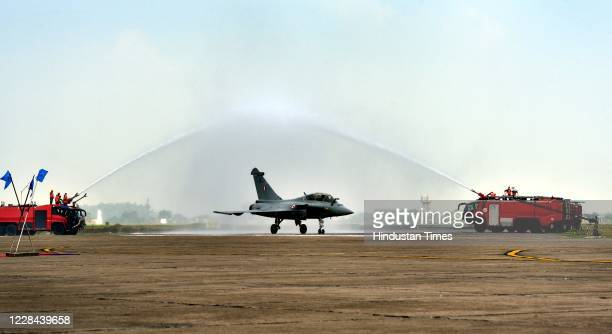 Rafale aircraft being accorded water salute during its induction ceremony on September 10, 2020 in Ambala, India. The aircraft will be part of 17...