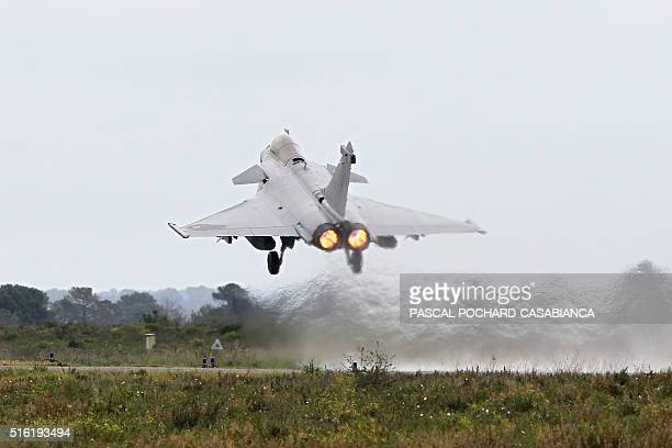 A Rafale fighter jet takes off during a military drill of the 'Serpentex' air forces with the participation of 12 Nations including 10 of the NATO on...