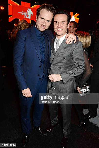Rafe Spall and Andrew Scott attend an after party celebrating The Moet British Independent Film Awards 2014 at Old Billingsgate Market on December 7...