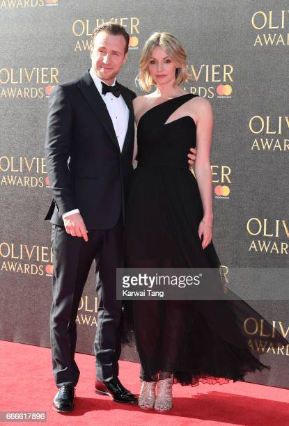 Rafe Spall and Elize Du Toit arrive for The Olivier Awards 2017 at the Royal Albert Hall on April 9 2017 in London England