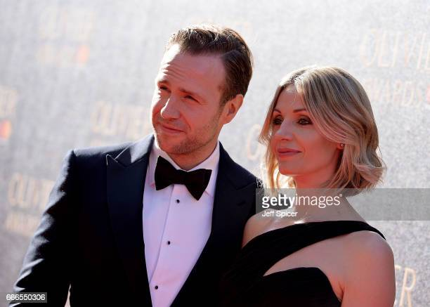 Rafe Spall and Elize du Toit attend The Olivier Awards 2017 at Royal Albert Hall on April 9 2017 in London England