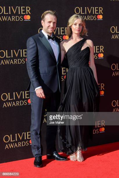 Rafe Spall and Elize du Toit attends The Olivier Awards 2017 at Royal Albert Hall on April 9 2017 in London England