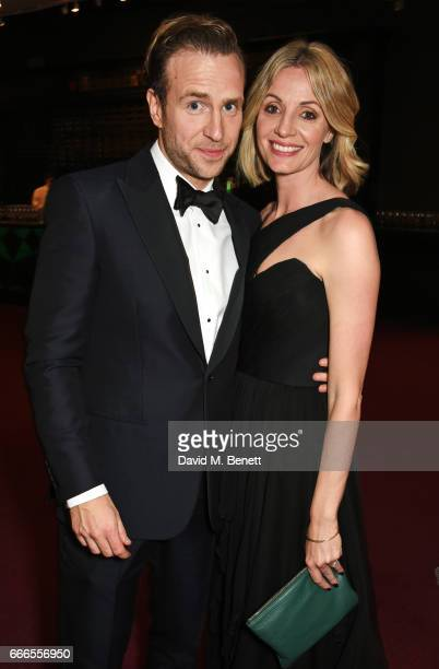 Rafe Spall and Elize du Toit pose in the winners room at The Olivier Awards 2017 at Royal Albert Hall on April 9 2017 in London England