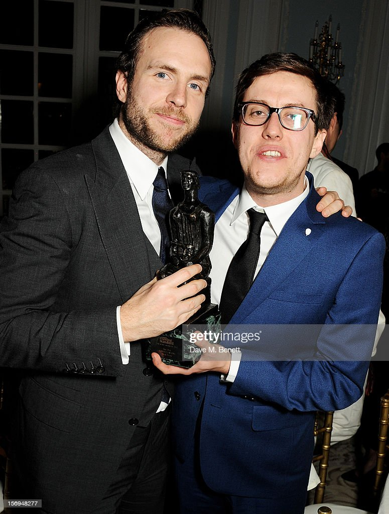 Rafe Spall (L) and Nick Payne attend an after party following the 58th London Evening Standard Theatre Awards in association with Burberry at The Savoy Hotel on November 25, 2012 in London, England.