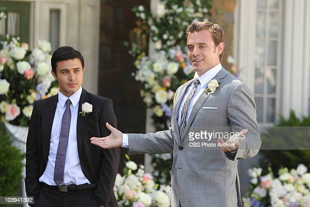 Rafe Torres left, and groom Billy Abbott at his wedding to Victoria Newman on THE YOUNG AND THE RESTLESS, broadcast weekdays on the CBS Television...