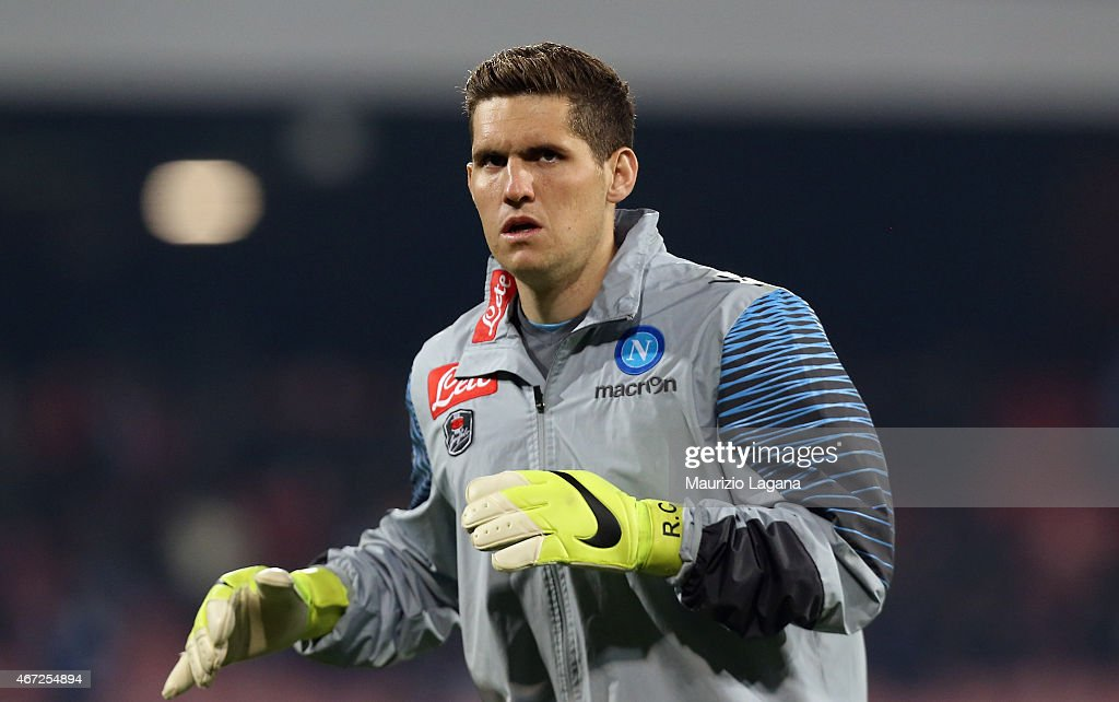 Rafeal of Napoli warms up before the Serie A match between SSC Napoli and Atalanta BC at Stadio San Paolo on March 22, 2015 in Naples, Italy.
