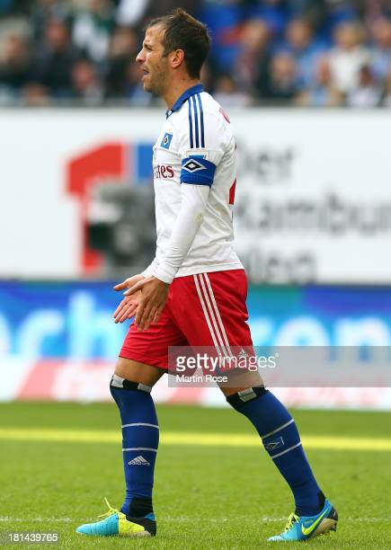 Rafel van der Vaart of Hamburg looks dejected during the Bundesliga match between Hamburger SV and Werder Bremen at Imtech Arena on September 21 2013...