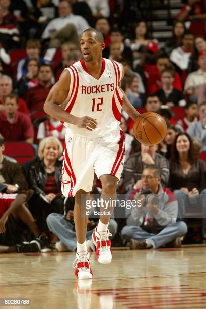Rafer Alston of the Houston Rockets brings the ball upcourt during the game against the New Orleans Hornets on March 8, 2008 at the Toyota Center in...