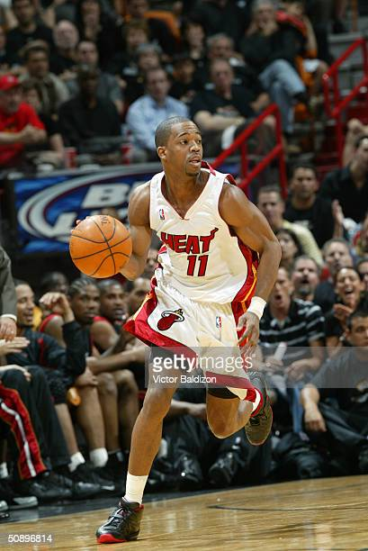 Rafer Alston of the Miami Heat drives upcourt in Game three of the Eastern Conference Semifinals against the Indiana Pacers during the 2004 NBA...