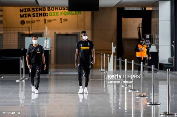 Raffael and Breel Embolo are seen during the Pre-Game Quarantine of Borussia Moenchengladbach at Borussia-Park on May 11, 2020 in Moenchengladbach,...