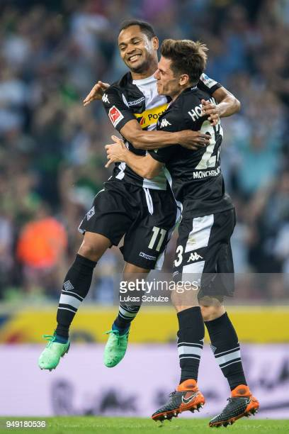 Raffael and Jonas Hofmann of Moenchengladbach celebrate a goal during the Bundesliga match between Borussia Moenchengladbach and VfL Wolfsburg at...