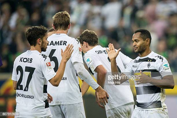 Raffael and Julian Korb of Moenchengladbach celebrate after scoring a goal to make it 40 at the Bundesliga match between Borussia Moenchengladbach...
