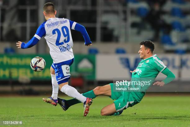 Raffael Behounek of Tirol and Sascha Horvath of Hartberg during the Tipico Bundesliga match between TSV Prolactal Hartberg and WSG Swarovski Tirol at...