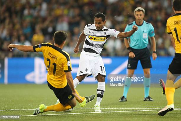 Raffael Caetano de Araujo of Borussia Moenchengladbach is scoring during the Champions League Playoff match between Young Boys Bern and Borussia...