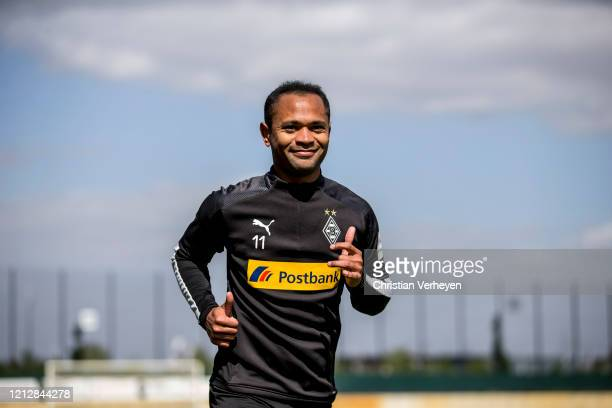 Raffael in action during a training session of Borussia Moenchengladbach at Borussia-Park on May 11, 2020 in Moenchengladbach, Germany.