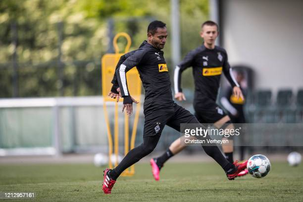 Raffael in action during a training session of Borussia Moenchengladbach at Borussia-Park on May 14, 2020 in Moenchengladbach, Germany.