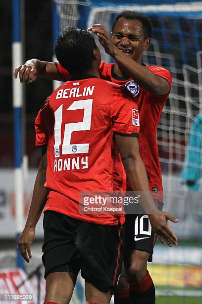 Raffael of Berlin celebrates the second goal with Ronny of Berlin during the Second Bundesliga match between VfL Bochum and Hertha BSC Berlin at...