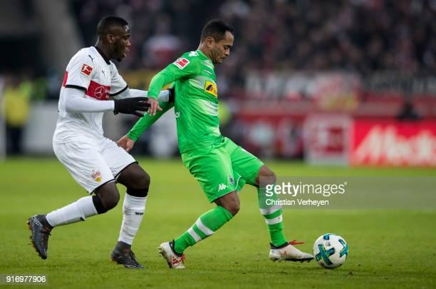 Raffael of Borussia Moenchengladbach and Orel Mangala of VfB Stuttgart in action during the Bundesliga match between VfB Stuttgart and Borussia...