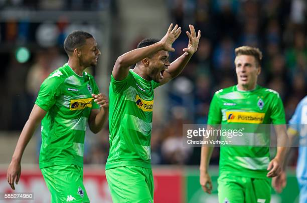 Raffael of Borussia Moenchengladbach celebrates after his teams first goal during a friendly match between Chemnitzer FC and Borussia...
