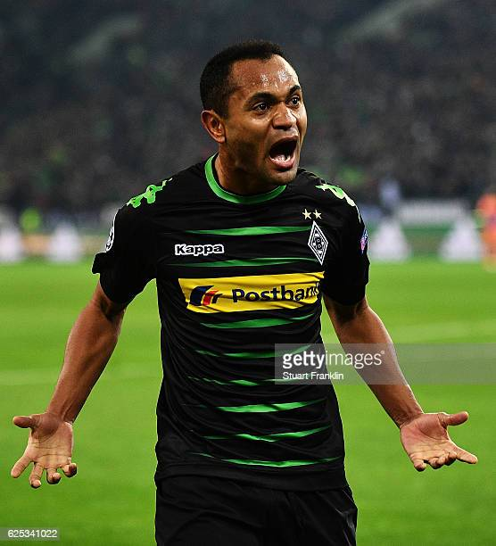 Raffael of Borussia Moenchengladbach celebrates after scoring the first goal during the UEFA Champions League match between VfL Borussia...