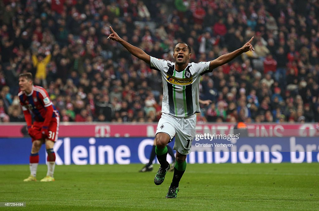Raffael of Borussia Moenchengladbach celebrates after their second goal during the Bundesliga match between FC Bayern Muenchen and Borussia Moenchengladbach at Allianz Arena Stadium on March 22, 2015 in Munich, Germany.