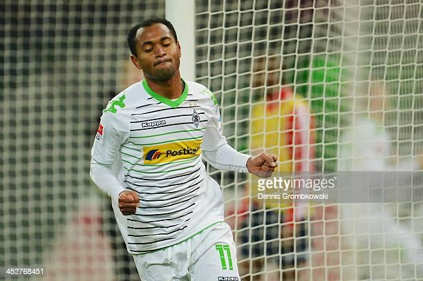 Raffael of Borussia Moenchengladbach celebrates first goal during the Bundesliga match between Borussia Moenchengladbach and SC Freiburg at...