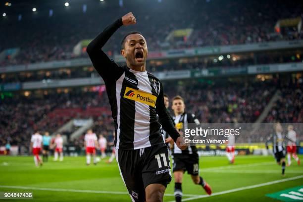Raffael of Borussia Moenchengladbach celebrates his teams first goal the Bundesliga match between 1 FC Koeln and Borussia Moenchengladbach at...
