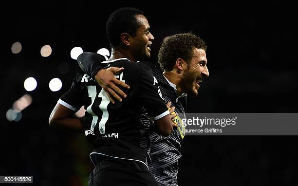 Raffael of Borussia Moenchengladbach celebrates with Fabian Johnson of Borussia Moenchengladbach after scoring his side's second goal during the UEFA...