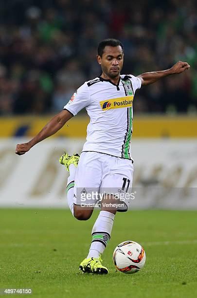 Raffael of Borussia Moenchengladbach controls the ball during the Bundesliga match between Borussia Moenchengladbach and FC Augsburg at BorussiaPark...