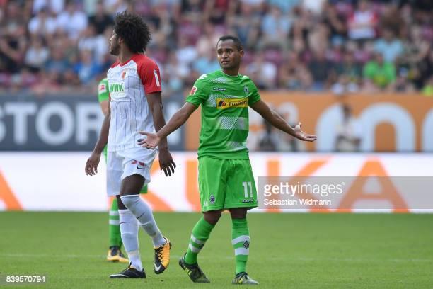 Raffael of Borussia Moenchengladbach gestures during the Bundesliga match between FC Augsburg and Borussia Moenchengladbach at WWKArena on August 26...