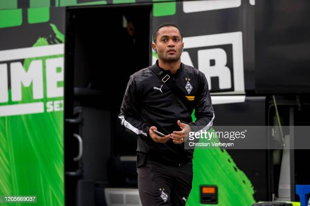 Raffael of Borussia Moenchengladbach is seen before the the Bundesliga match between Borussia Moenchengladbach and Borussia Dortmundat Borussia-Park...