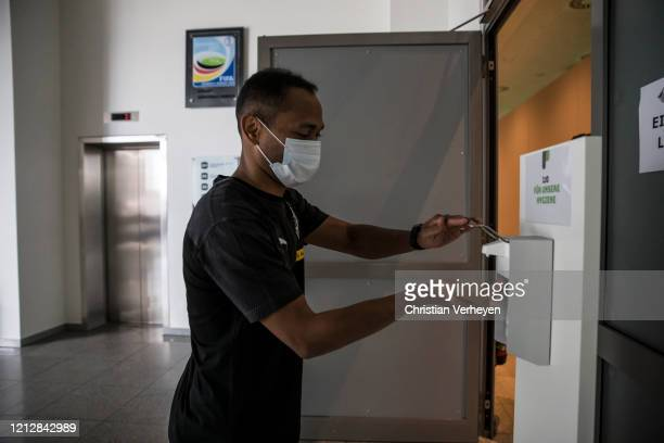 Raffael of Borussia Moenchengladbach is seen during the Pre-Game Quarantine of Borussia Moenchengladbach at Borussia-Park on May 11, 2020 in...