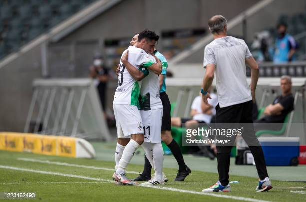 Raffael of Borussia Moenchengladbach is substitute for Lars Stindl during the Bundesliga match between Borussia Moenchengladbach and Hertha BSC at...