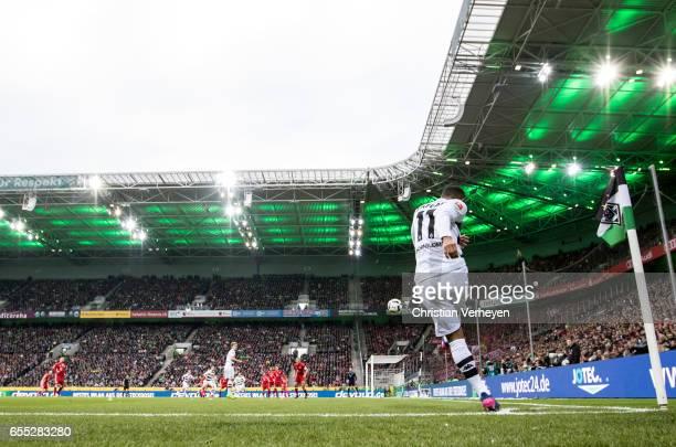 Raffael of Borussia Moenchengladbach kicks a corner during the Bundesliga Match between Borussia Moenchengladbach and Bayern Muenchen at BorussiaPark...