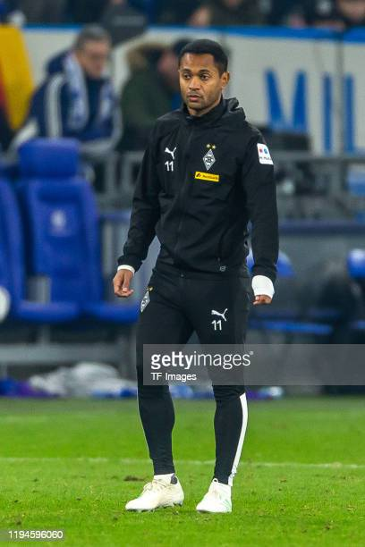 Raffael of Borussia Moenchengladbach looks on during the Bundesliga match between FC Schalke 04 and Borussia Moenchengladbach at VeltinsArena on...