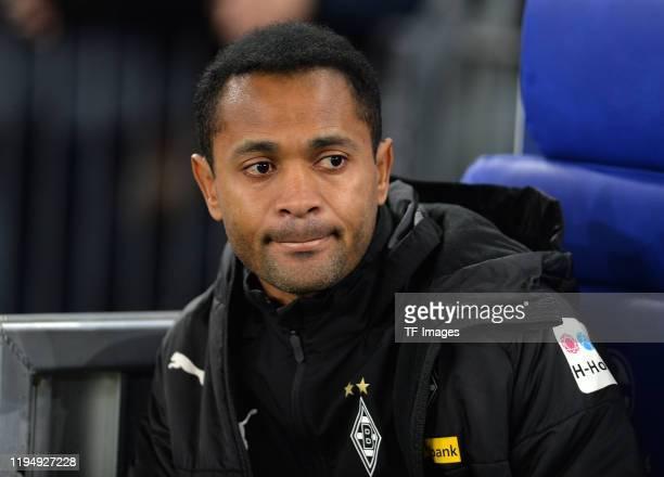 Raffael of Borussia Moenchengladbach looks on prior to the Bundesliga match between FC Schalke 04 and Borussia Moenchengladbach at VeltinsArena on...