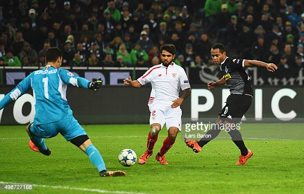 Raffael of Borussia Moenchengladbach scores his teams third goal during the UEFA Champions League Group D match between Borussia Moenchengladbach and...