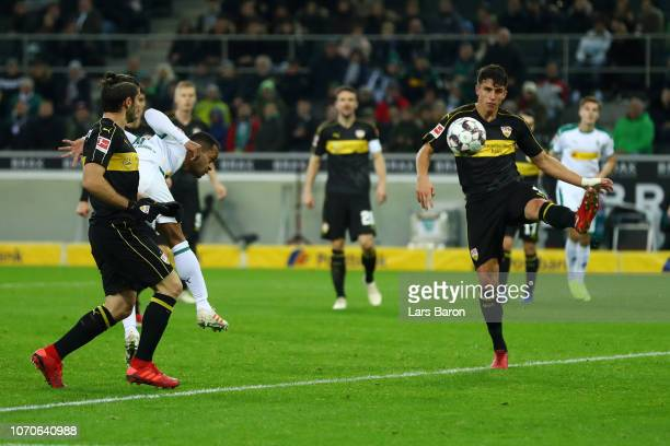 Raffael of Borussia Monchengladbach scores his team's first goal during the Bundesliga match between Borussia Moenchengladbach and VfB Stuttgart at...