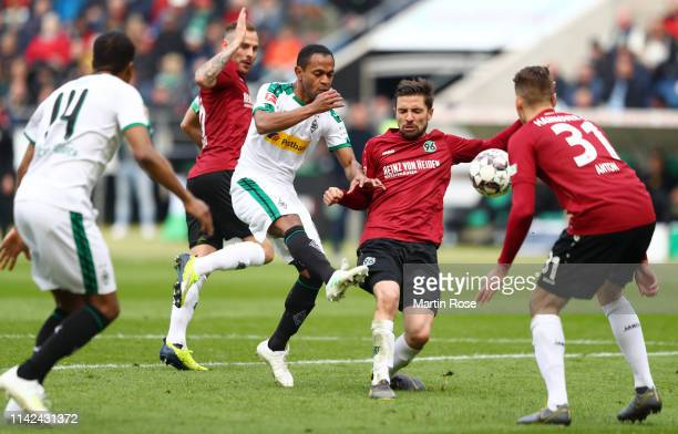 Raffael of Borussia Monchengladbach scores his team's first goal during the Bundesliga match between Hannover 96 and Borussia Moenchengladbach at...