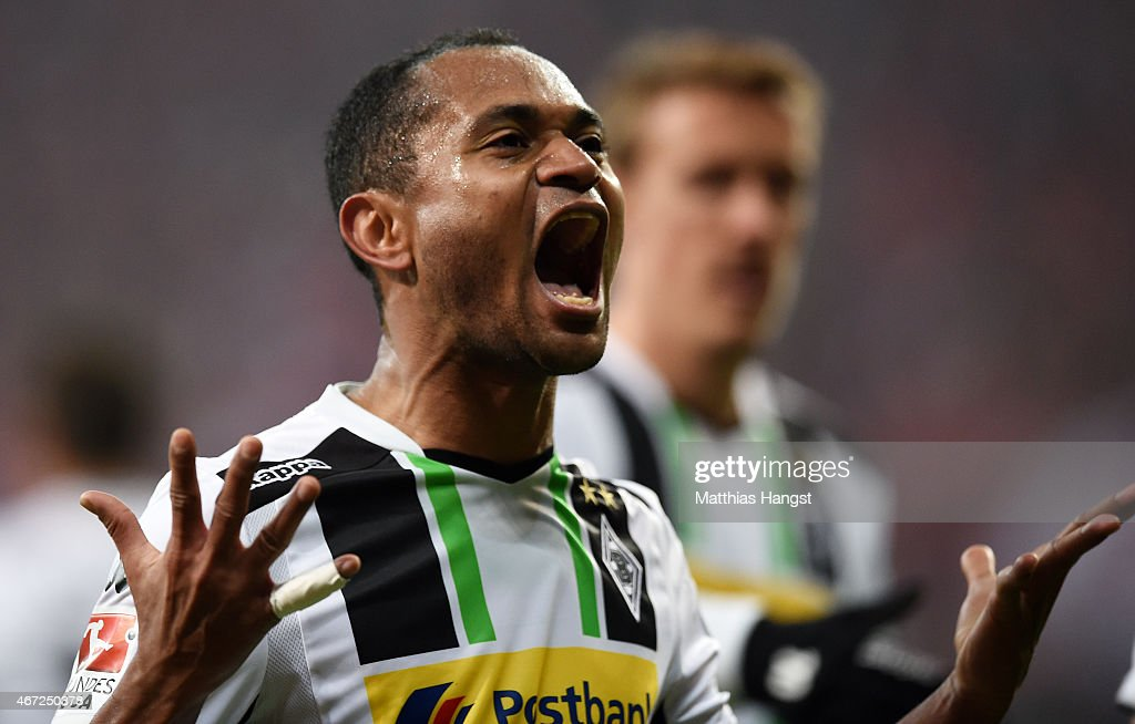 Raffael of Gladbach celebrates after scoring his team's second goal during the Bundesliga match between FC Bayern Muenchen and Borussia Moenchengladbach at Allianz Arena on March 22, 2015 in Munich, Germany.