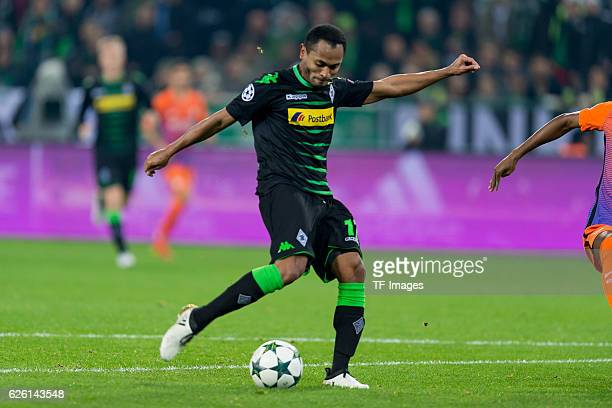 Raffael of Gladbach scores a goal during the UEFA Champions League match between VfL Borussia Moenchengladbach and Manchester City FC at BorussiaPark...