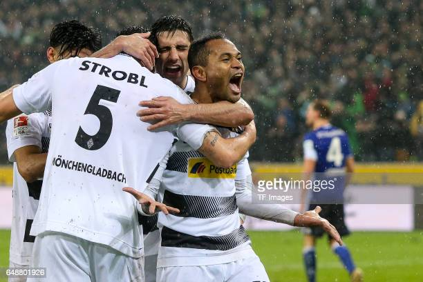 Raffael of Moenchengladbach celebrate his goal during the Bundesliga match between Borussia Moenchengladbach and FC Schalke 04 at BorussiaPark on...