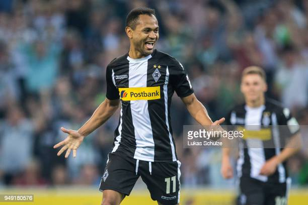 Raffael of Moenchengladbach celebrates a goal during the Bundesliga match between Borussia Moenchengladbach and VfL Wolfsburg at BorussiaPark on...